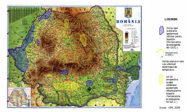 Distributia resurselor geotermale in Romania